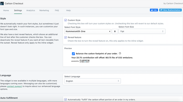 Carbon Checkout integrated dashboard settings