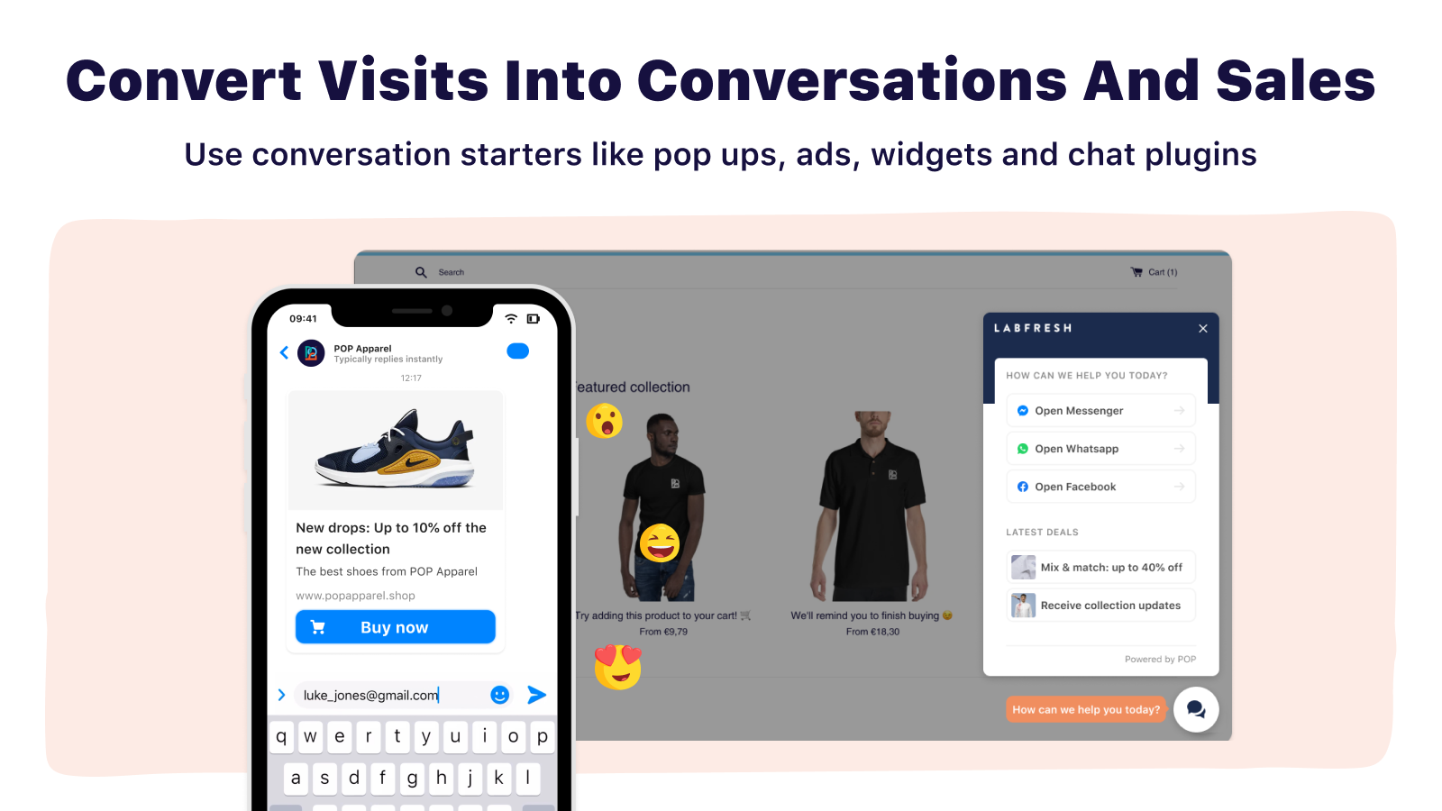 converting visitors into conversations and sales