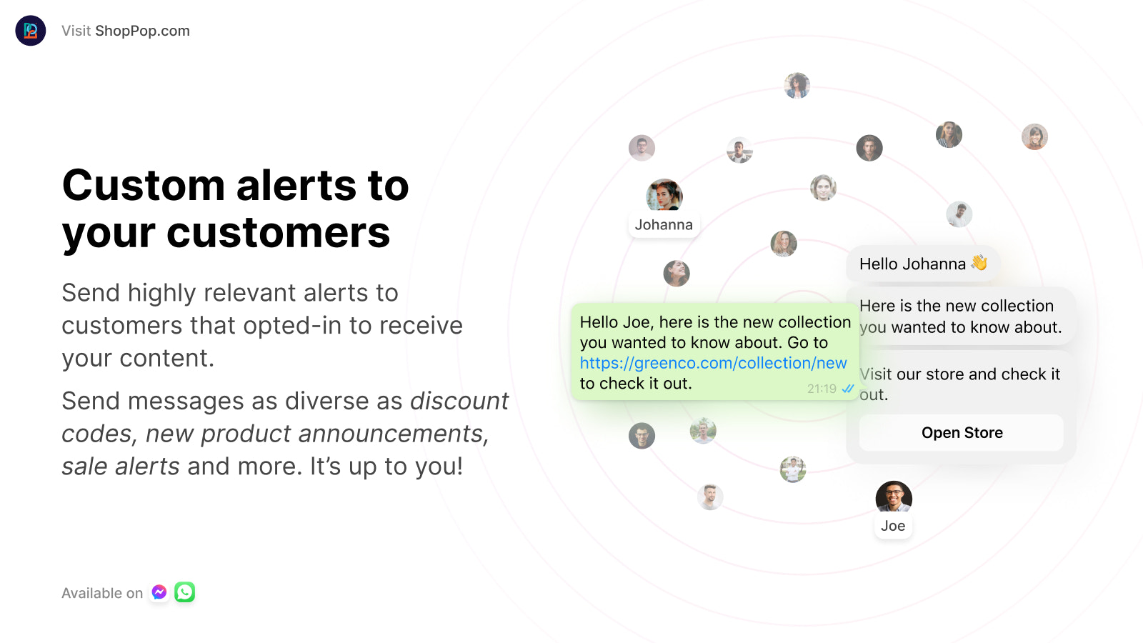Send highly customizable alerts to your customers