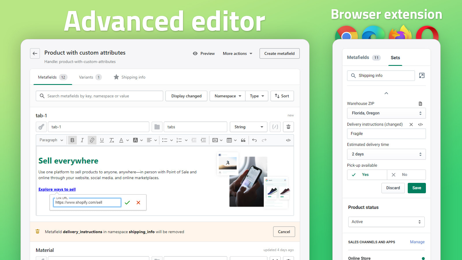 Advanced editor and browser extensicon
