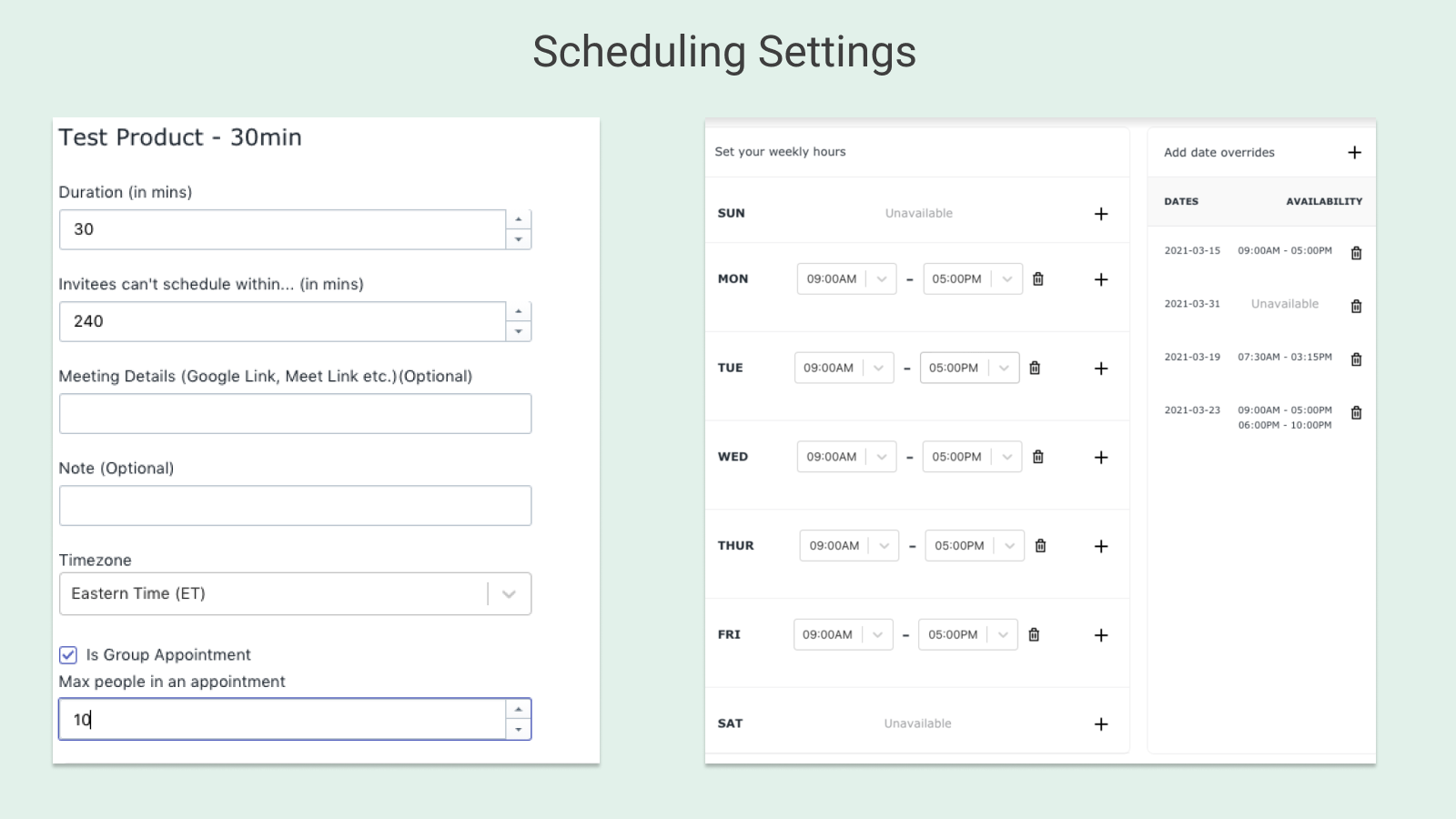 Scheduling Settings