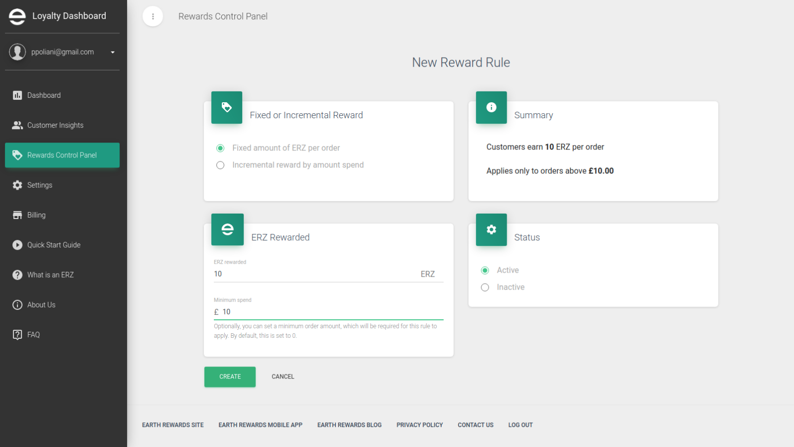 Rewards can be based on minimum spend, total spend and per order