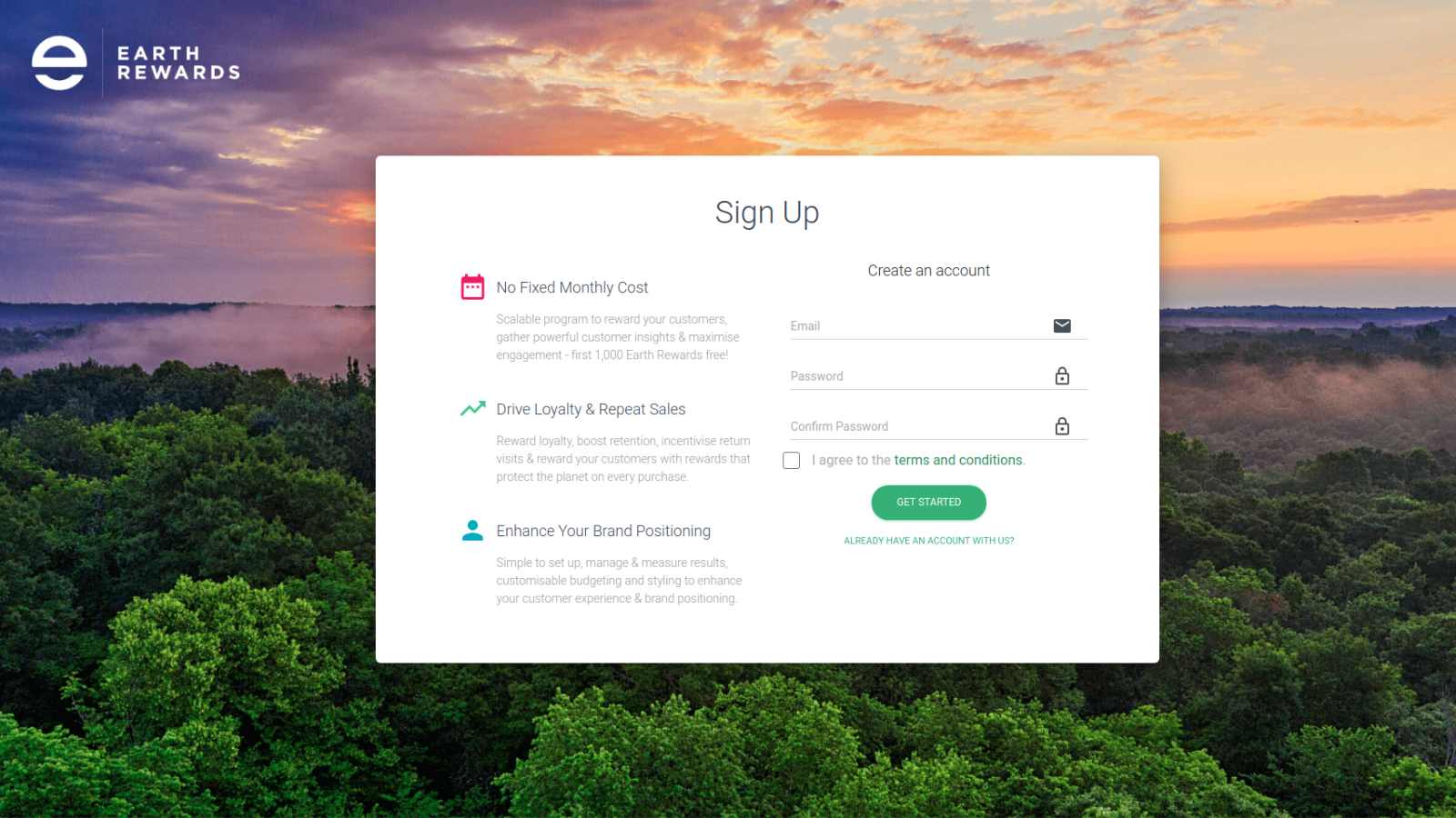 Sign up and get started with Earth Rewards today!