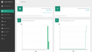 Review your rewards balance and issuance from the dashboard.