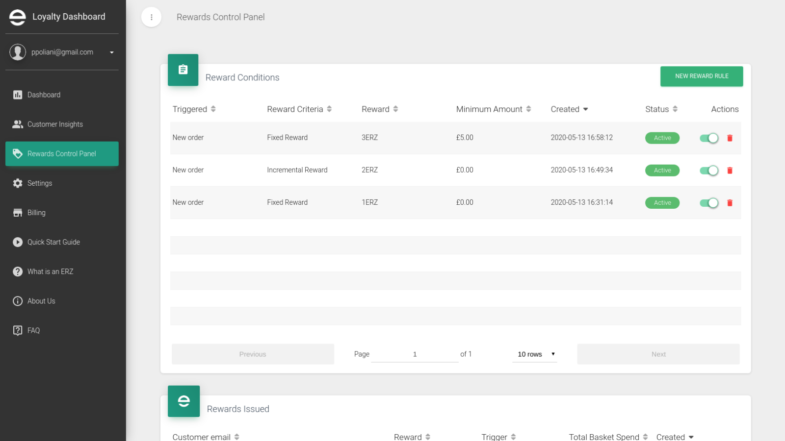 Set multiple reward conditions from the Control Panel