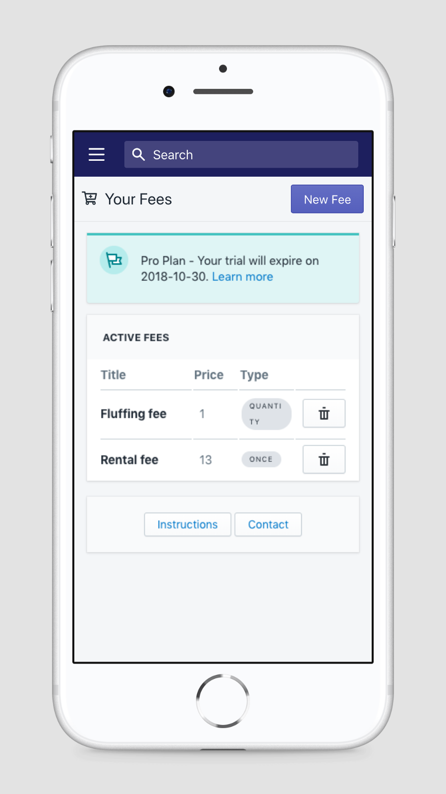 Mobile view of current fees