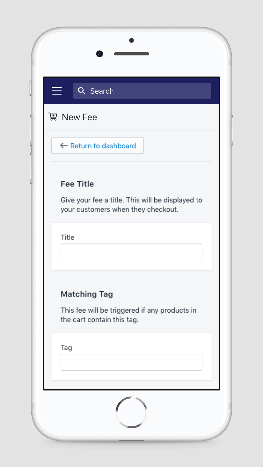Mobile view of adding a new fee