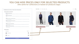 You can hide products only for selected products or collections