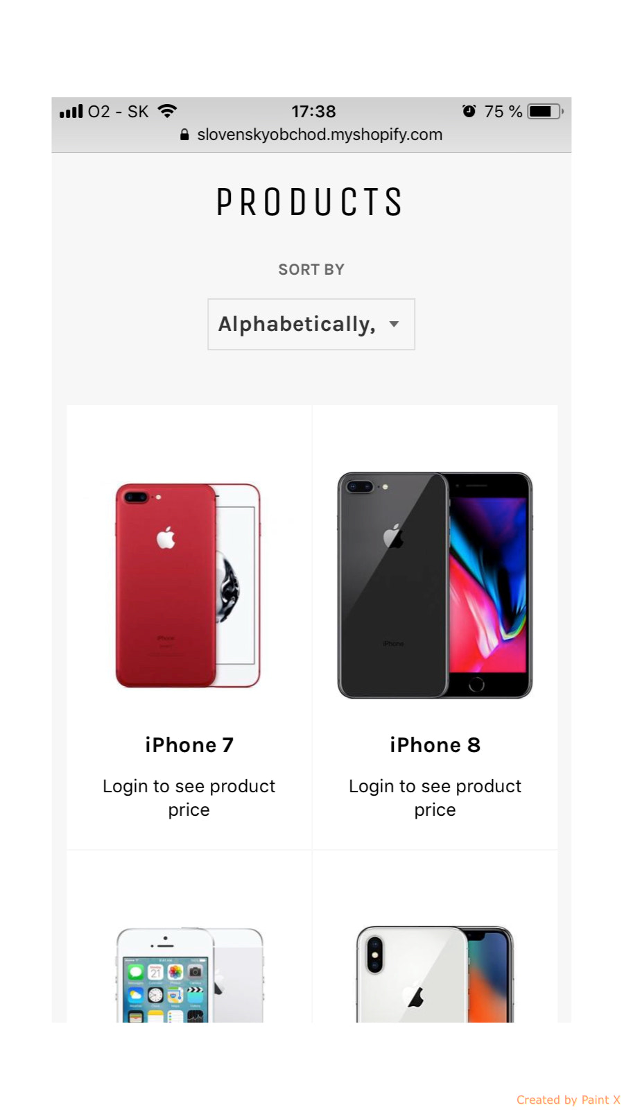 Mobile version of hidden prices in catalog of products