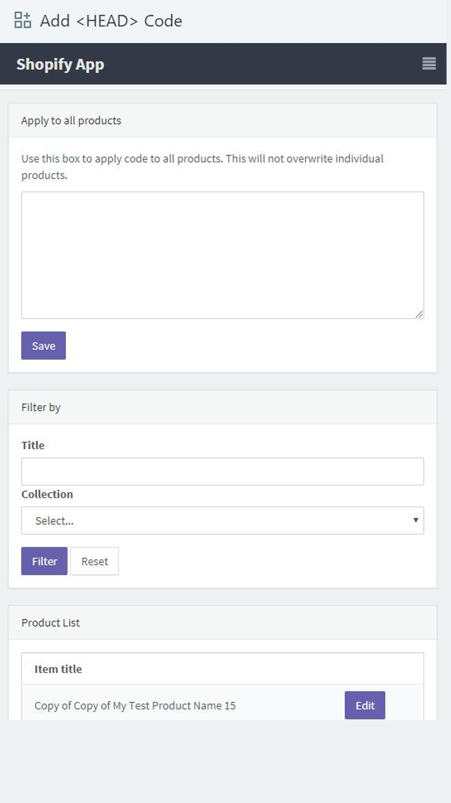 Add Head Code to Products Mobile