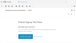 Email is sent to customer to activate their new customer account