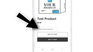 An email field is added above the add-to-cart button