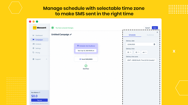 Manage-schedule-with-selectable-time-zone-to-make-SMS-sent