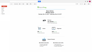Email reports with a summary of the most important ecommerce met