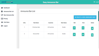 Easy Announce Bar bars list
