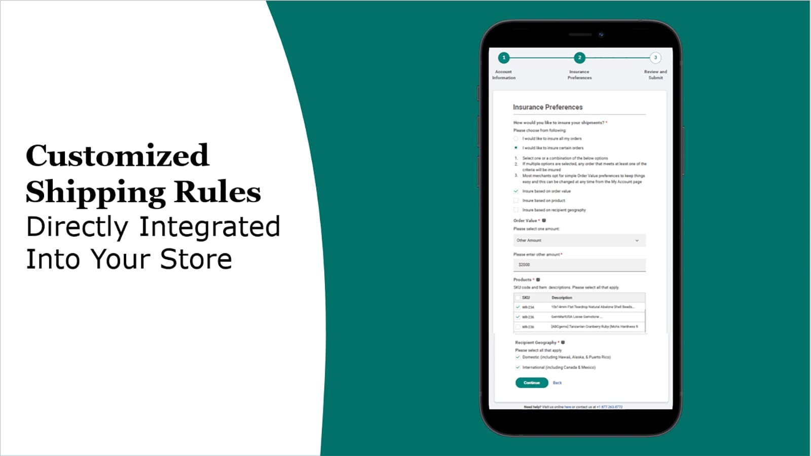 Customize shipping insurance rules based on your ecommerce needs