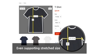 arrows show size and points over the t-shirt
