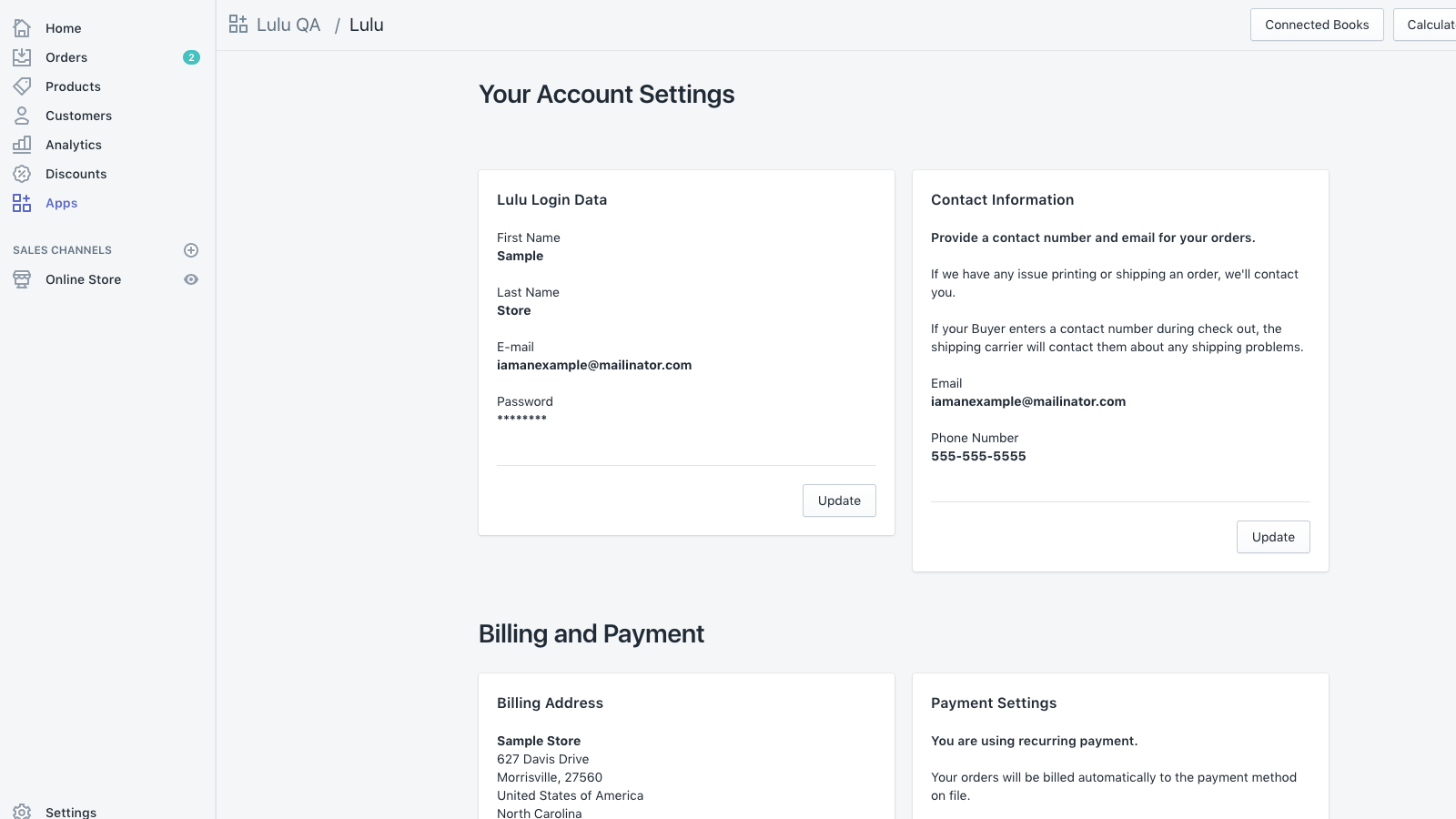 manage xPress account settings in Shopify store