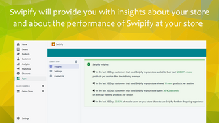 Analytics of sales boost,  designed feed with Swipify navigation