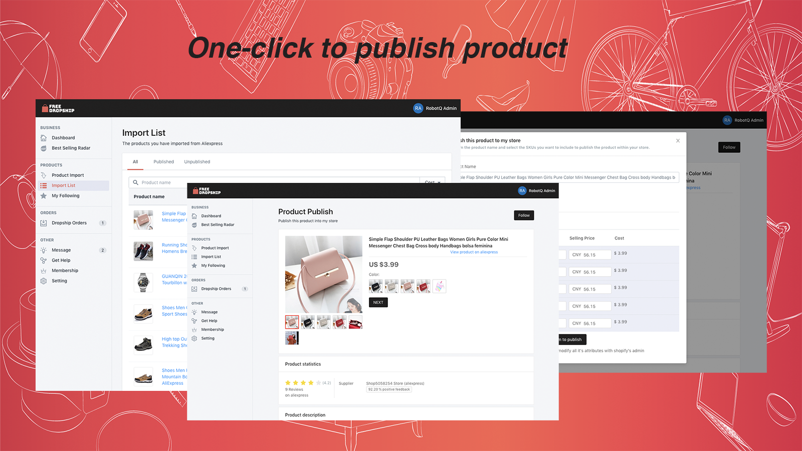 You can publish product after importing by one-click