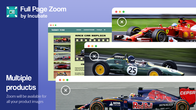 Zoom will be available for all your product images