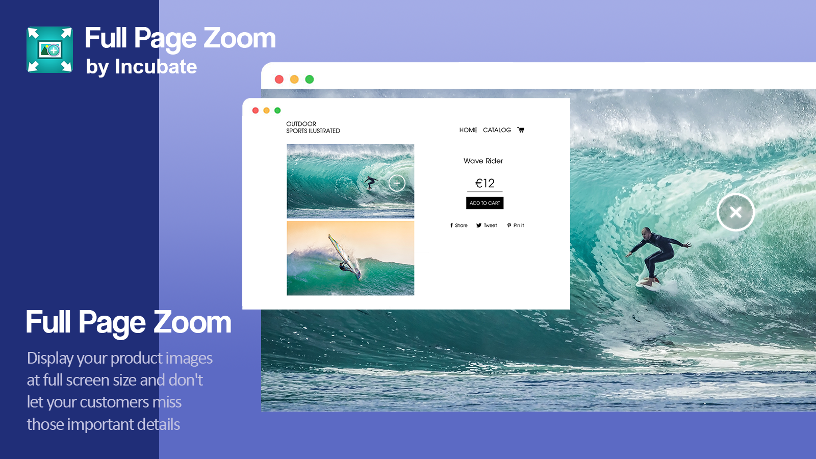 Display your product images at full-screen size