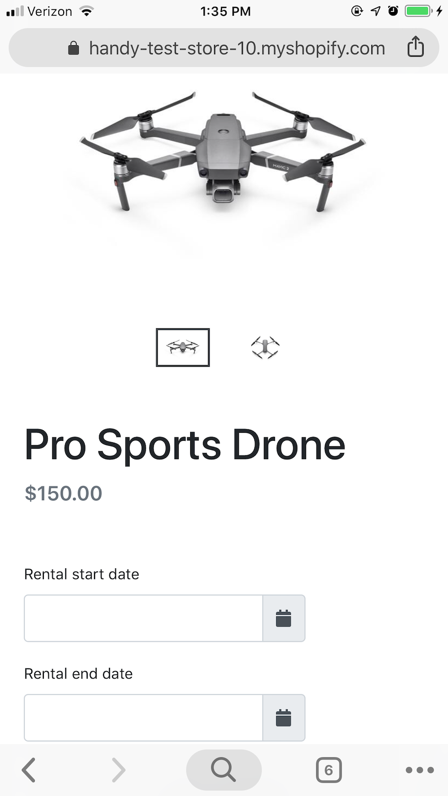 mobile product page with rental length selector