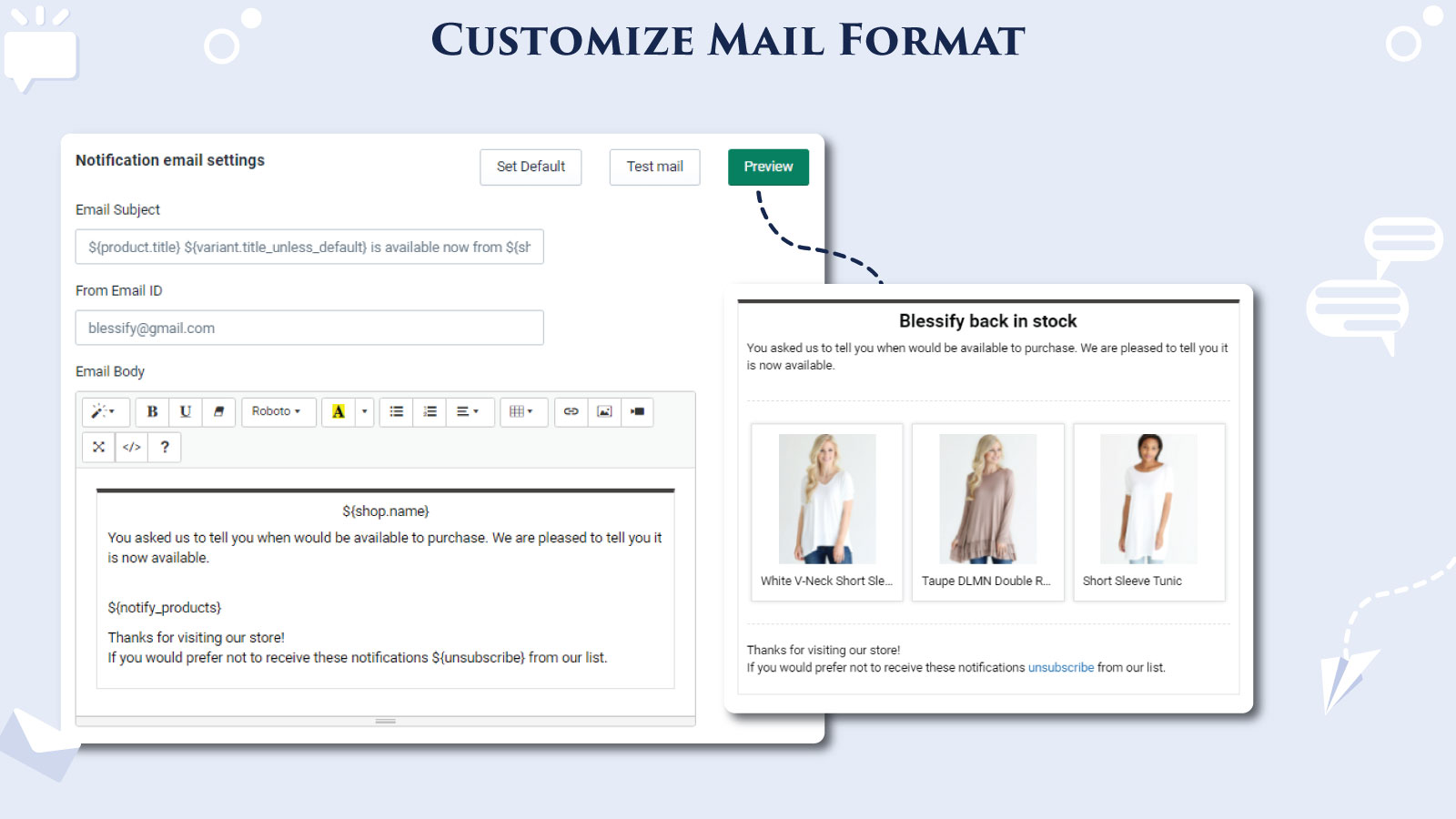 Customize mail format