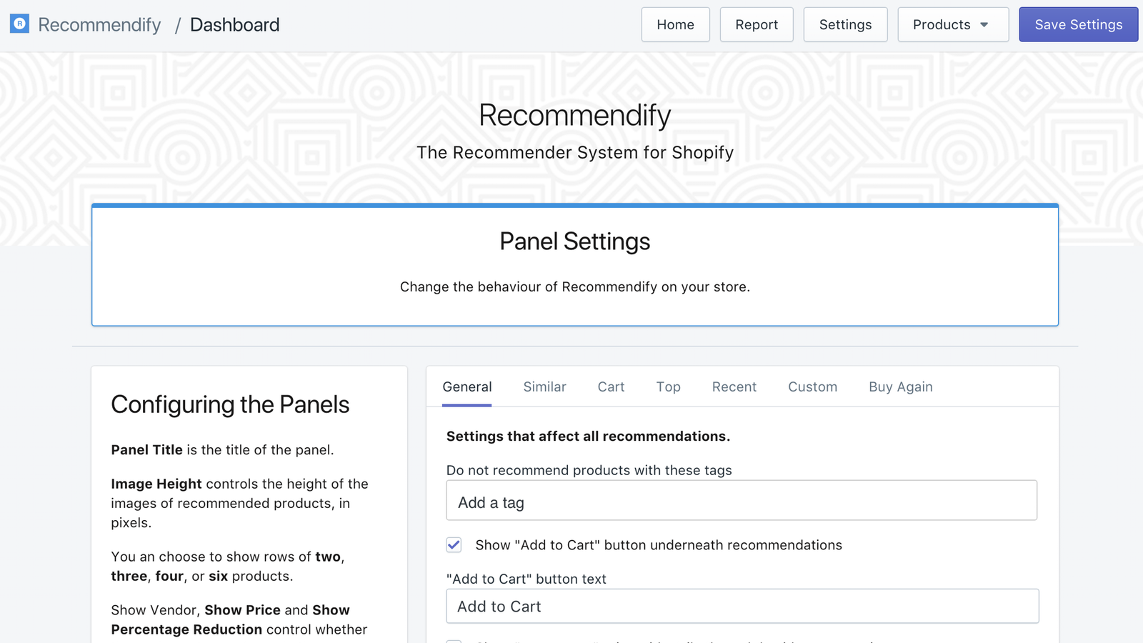 Settings page in dashboard