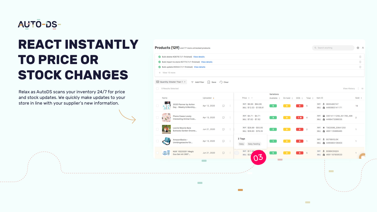 Shopify products price & stock monitoring
