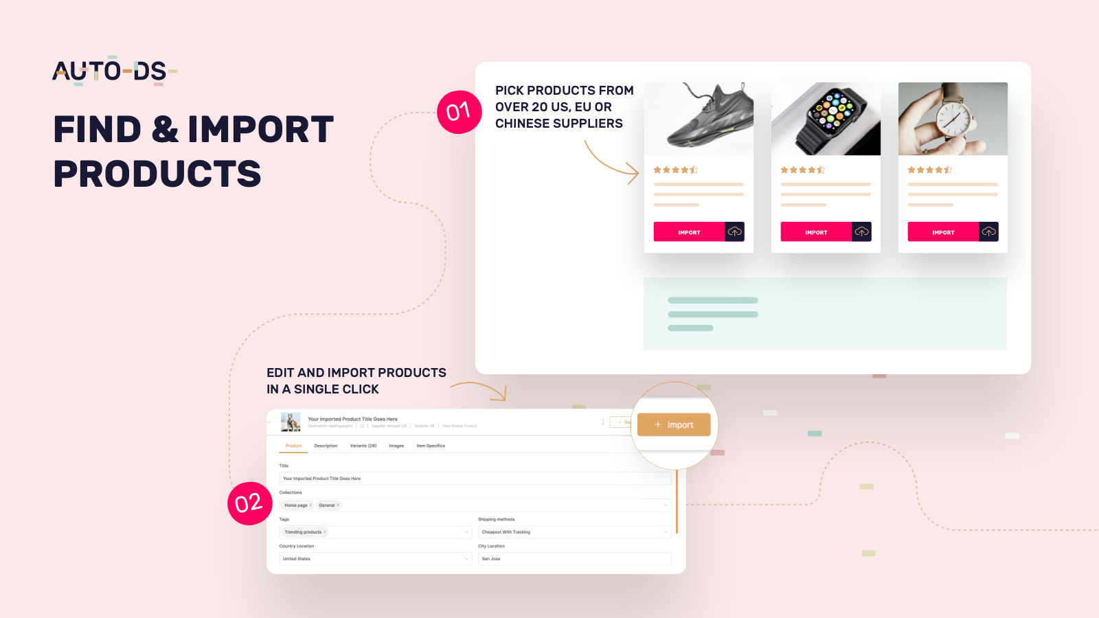 Dropshipping products finding and importing