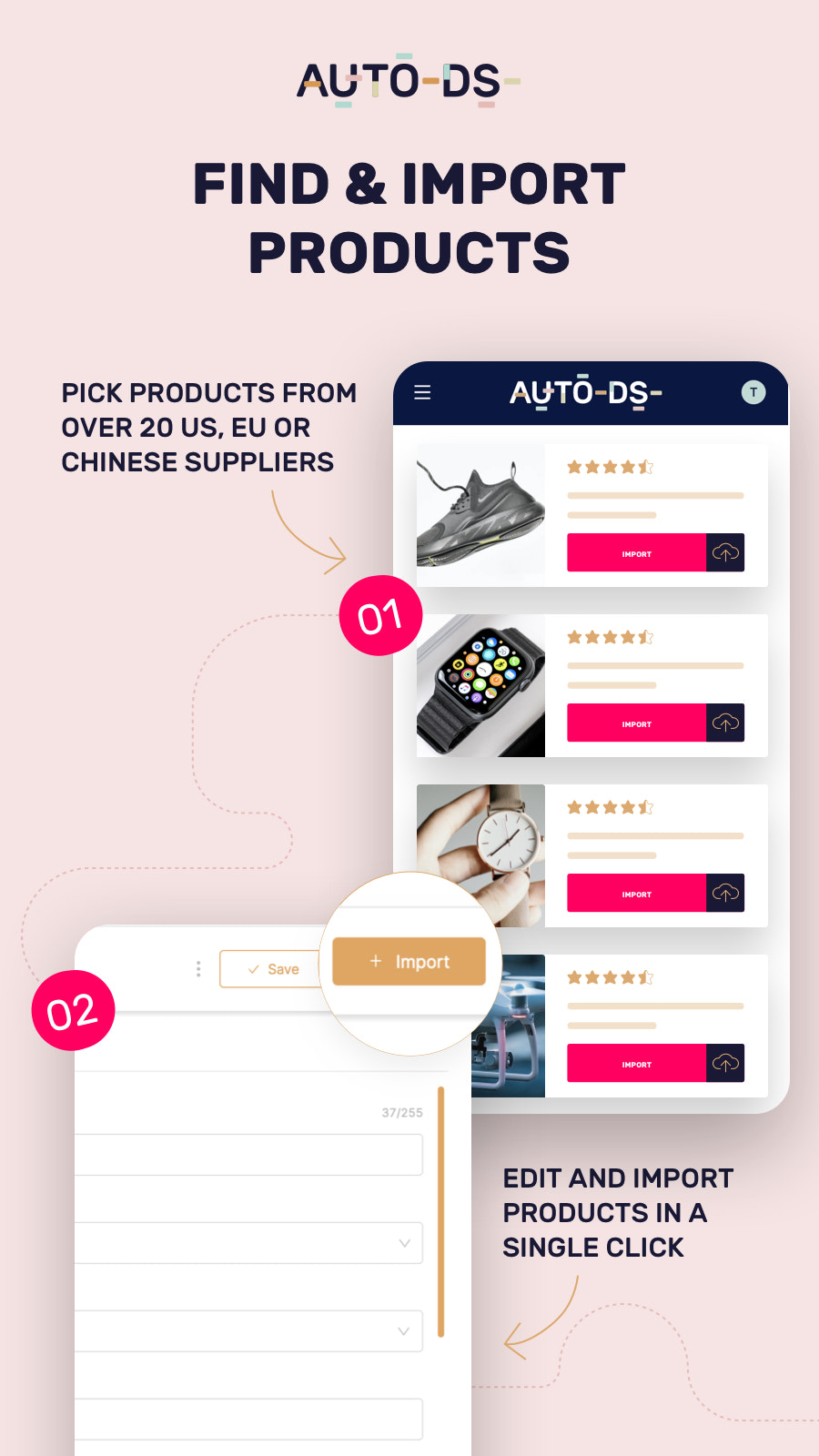 Dropshipping products finding and importing - mobile
