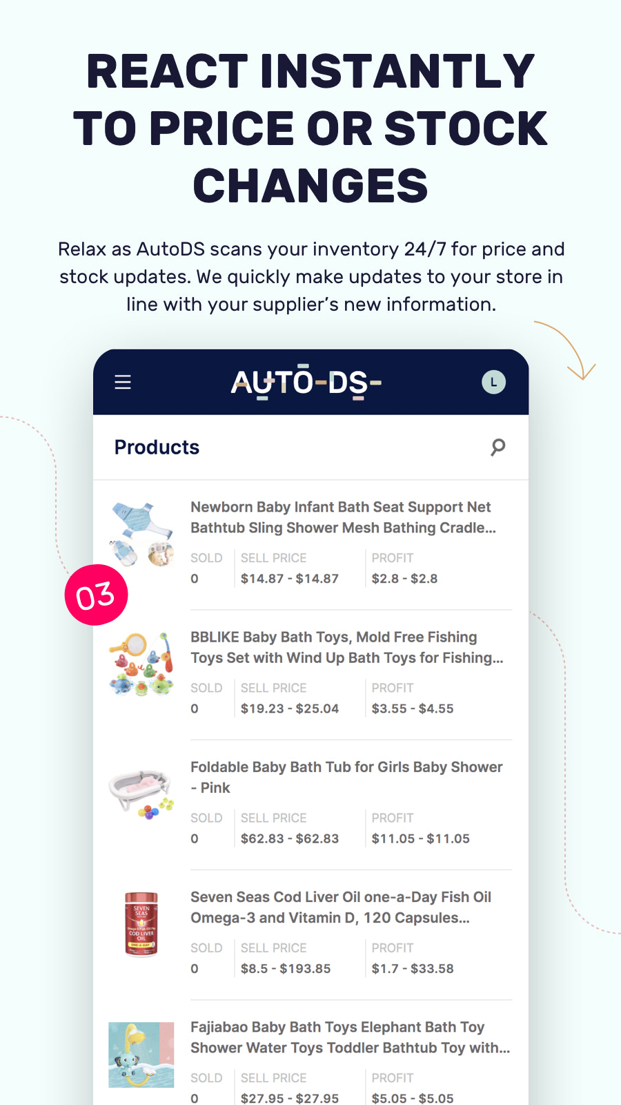 Dropshipping price and stock monitoring
