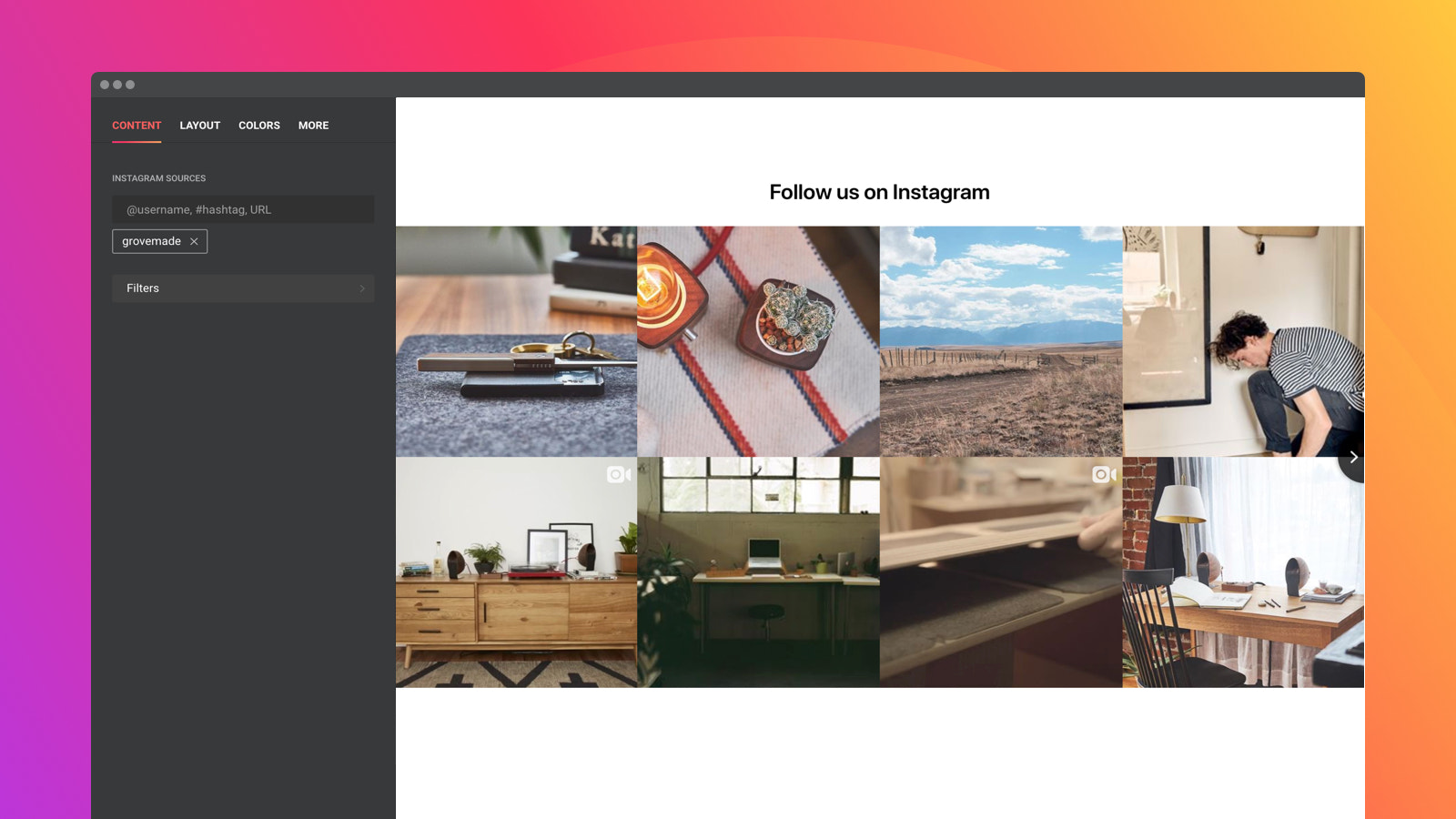 Use multiple Instagram sources and apply any filter you like