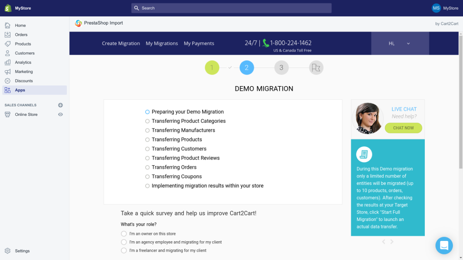 migrate prestashop to shopify by Cart2Cart