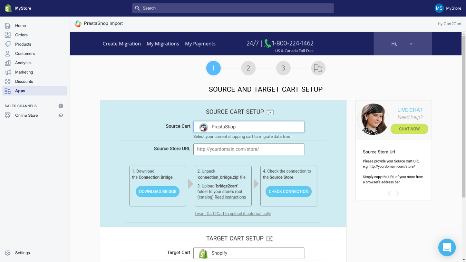 import prestashop to shopify by Cart2Cart