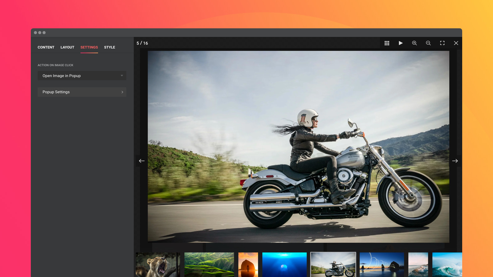 Let users see your photos in details using the popup option