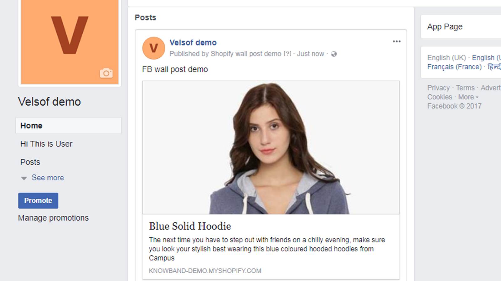Facebook Page Preview of posted product Information