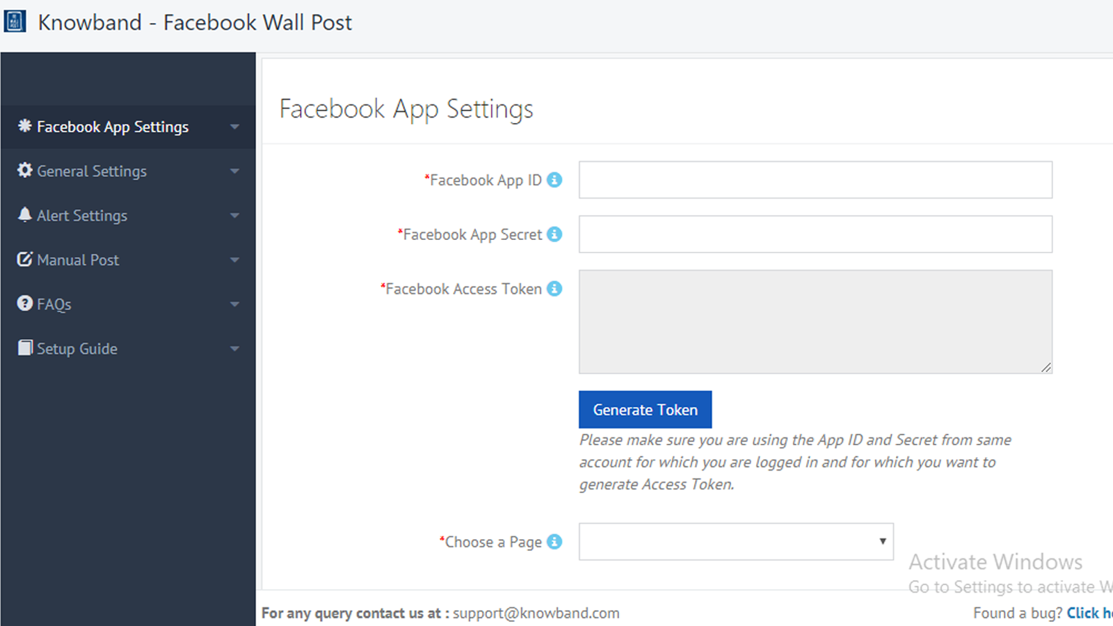 Facebook App Setting Page