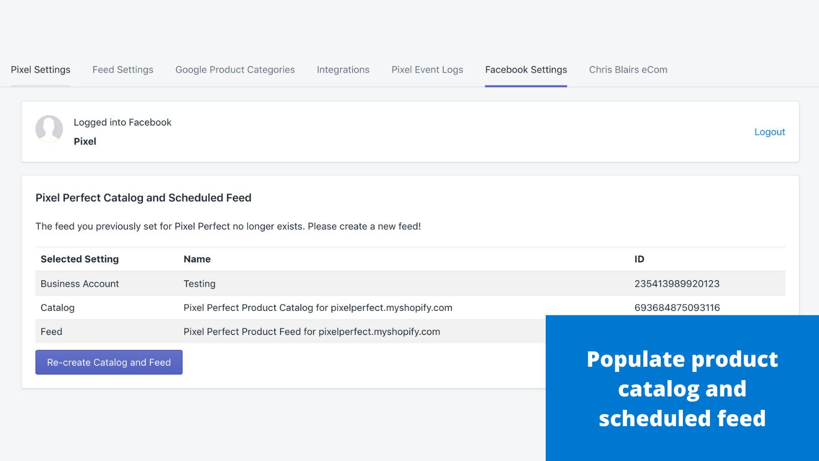 Populate product catalog and scheduled feed