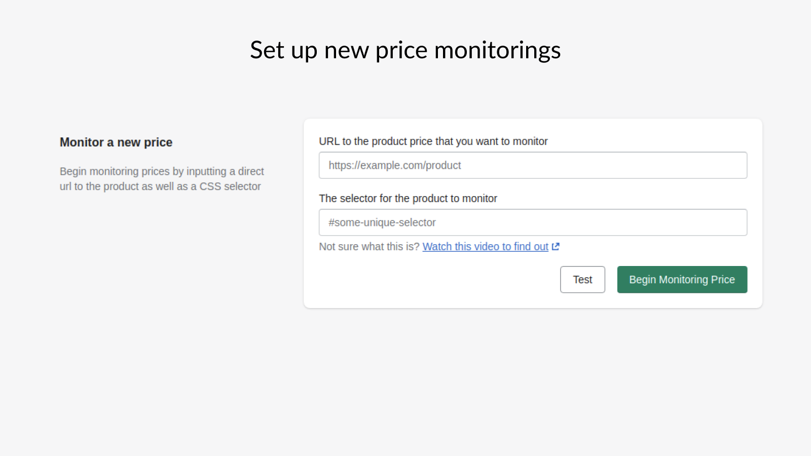 Add a new price monitoring in the Shopify app