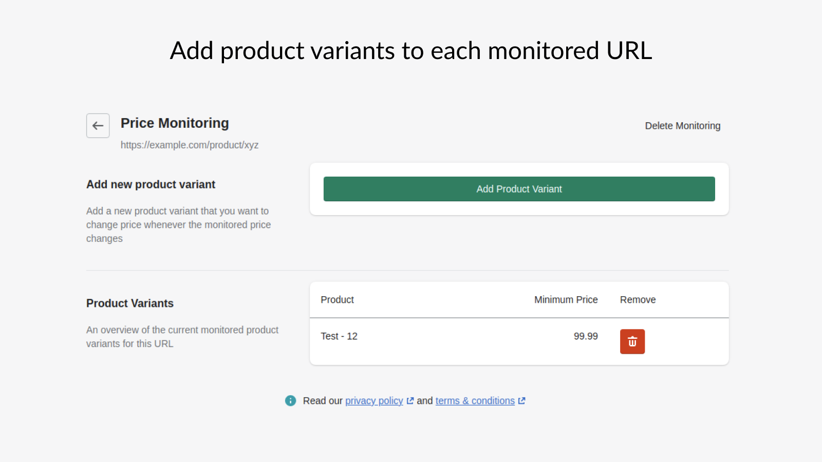 View all products impacted when monitored price changes