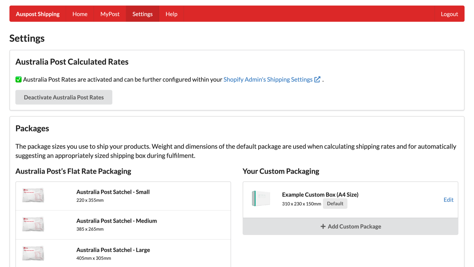 Australia Postage & Labels Settings and Preferences