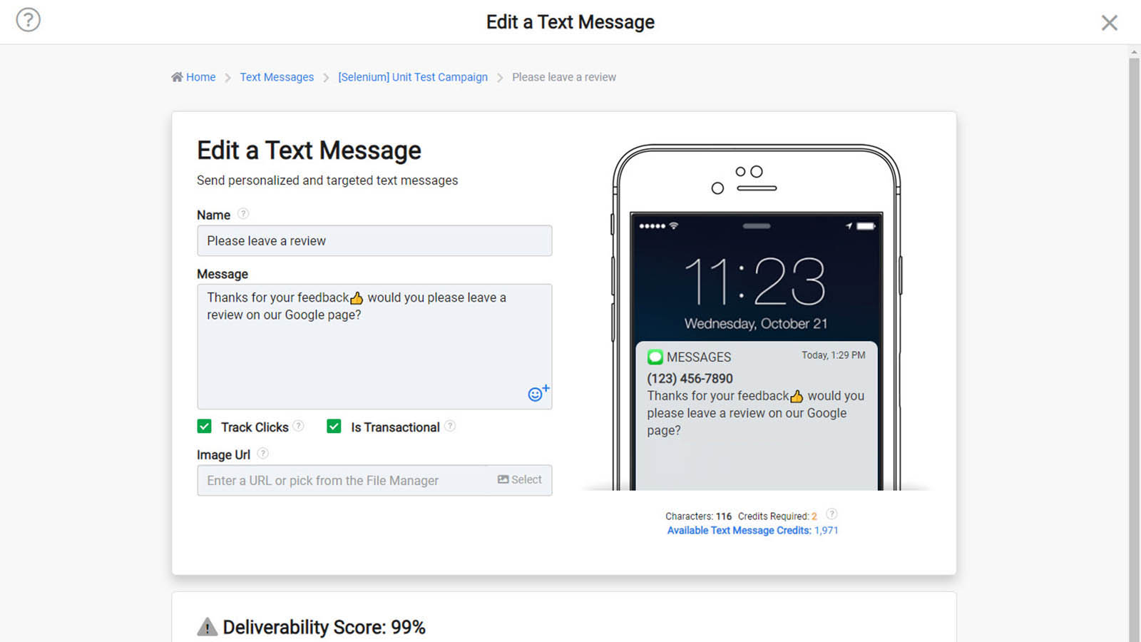 Create text messages with live preview