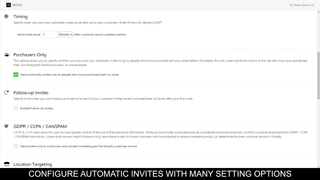 Configure automatic invites with many setting options.