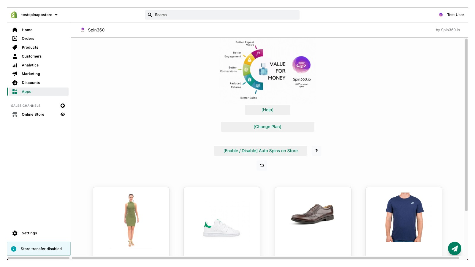 Products dashboard in your store
