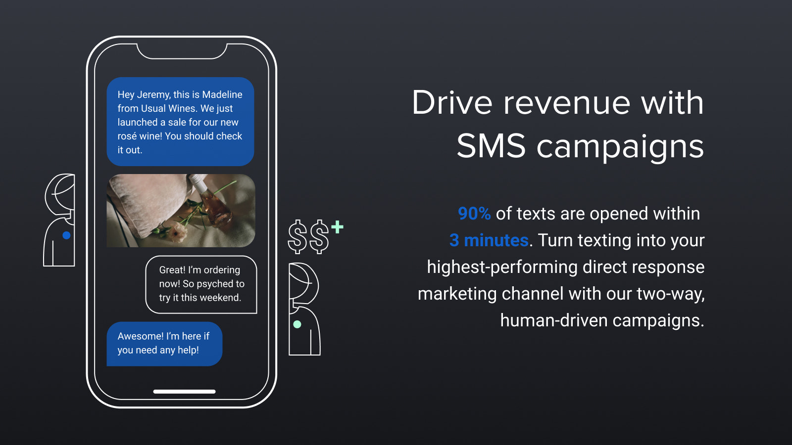 Capture revenue with two-way text message conversations