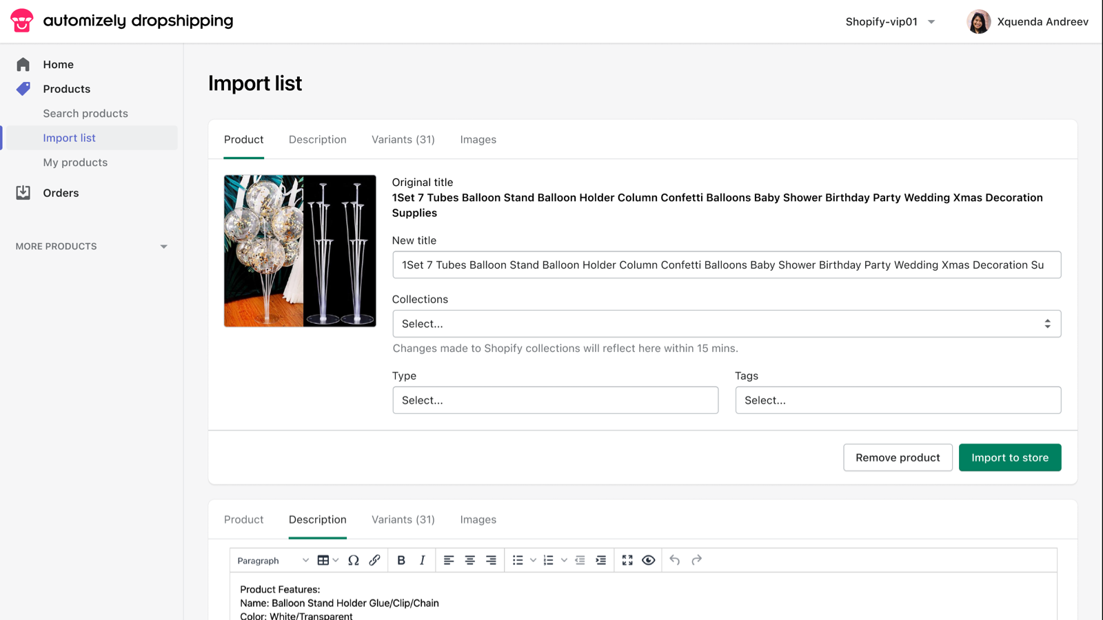 Edit product information and import to store