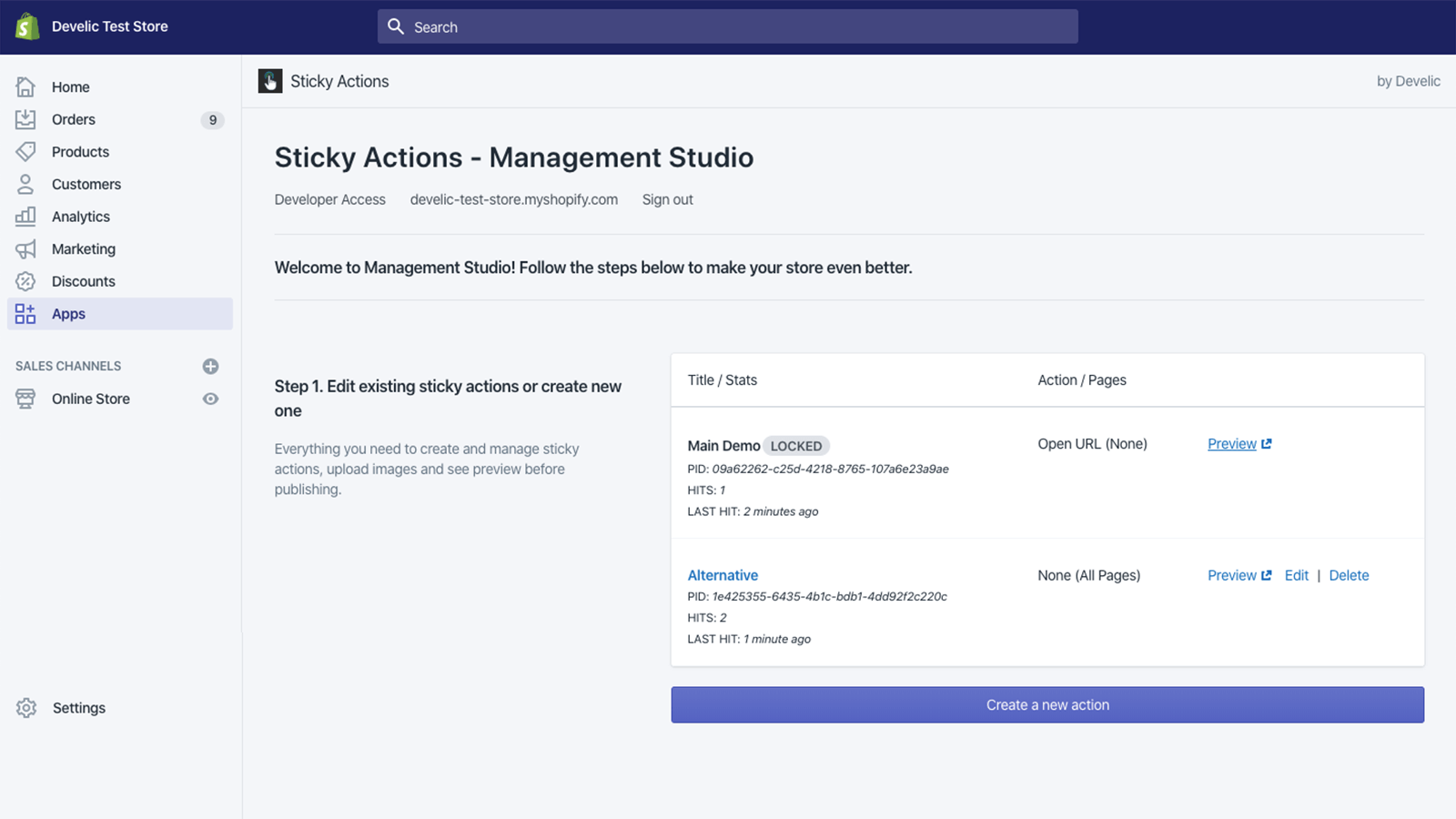 Sticky Actions, Admin Dashboard