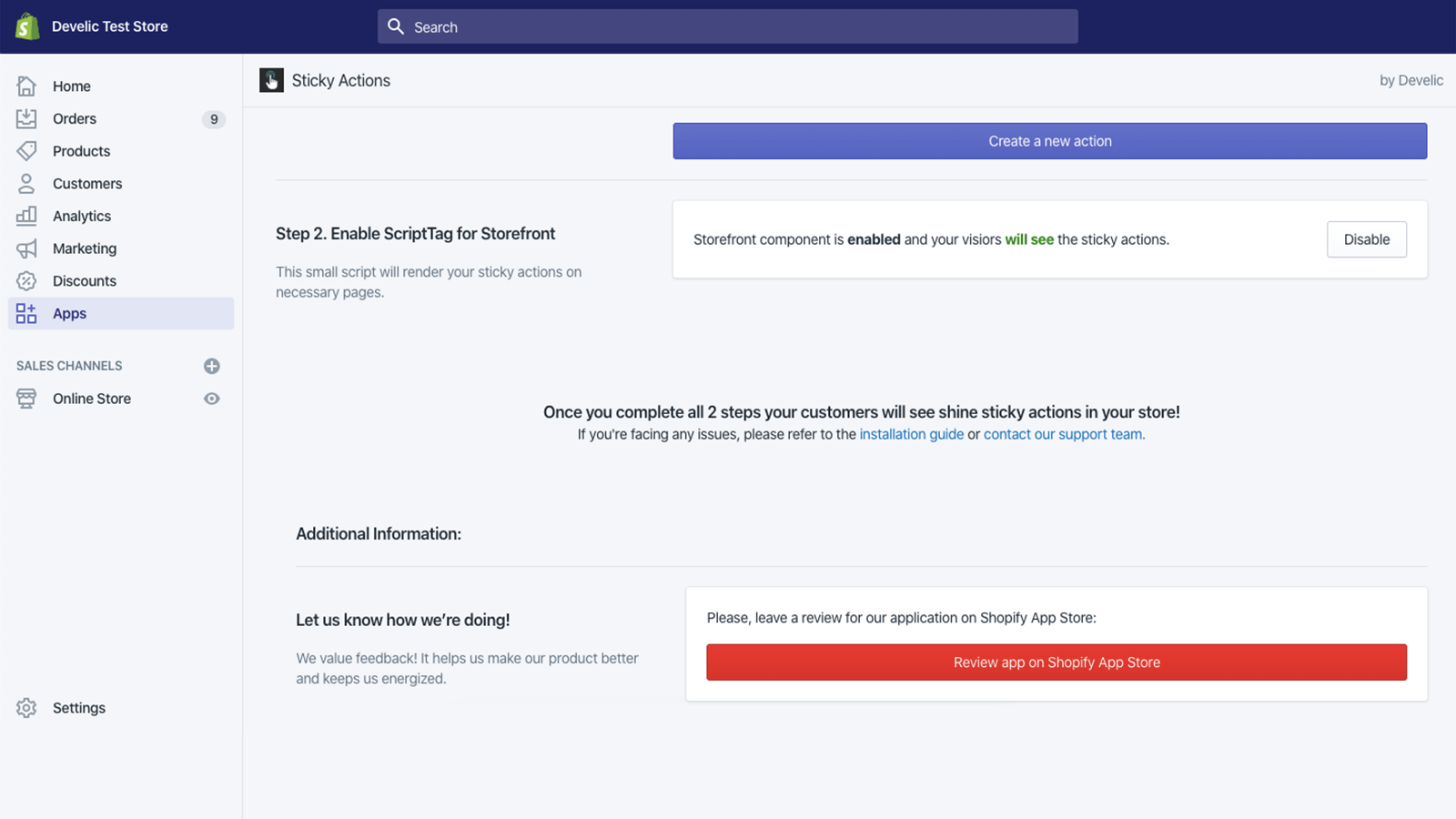 Sticky Actions, Admin Dashboard 2